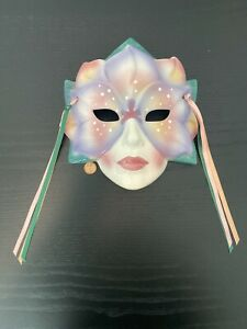 """VTG 1991 Clay-Art SF USA Ceramic Mask w/Ribbon Woman Flower Face Adult Size 8"""""""