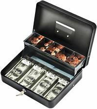 5 Compartment Large Size Cash Box With Lock For Bill 4 Spring Loaded Traygift