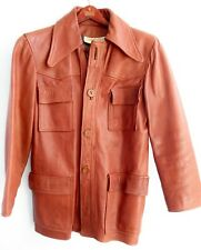 Vintage 70s Walter Dyer Brown Leather Jacket Leather Buttons Size 36 Small Men's