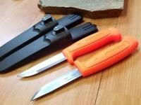 "2 Pc Lot Mora Morakniv Basic 511 8"" Carbon Steel Orange Camp Survival Knife 1832"