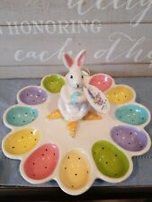 Blue Sky Clayworks Goldminc Easter Happy Spring Egg Dish New W/T