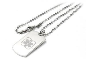 Personalised Medical I-C-E Identity Dog Tag Necklace / Pendant - Engraved