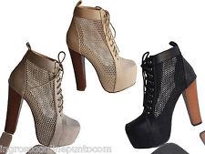 tronchetti donna traforati scarpe tacco legno plateau nuovi arrivi vn 837