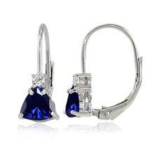 925 Silver Created Sapphire & White Topaz Trillion-Cut Leverback Drop Earrings