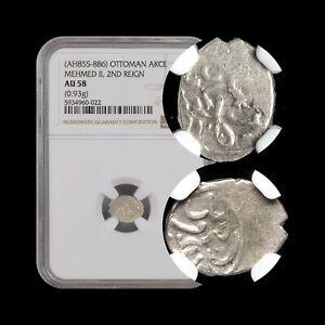 OTTOMAN. c.1471, Akce, Silver - NGC AU58 - Mehmed II, Novo Brdo, Kosovo (Serbia)