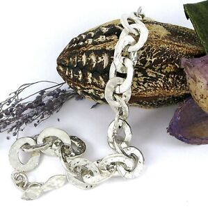 Sterling Silver 925 Hammered Flat Oval Link Toggle Bracelet