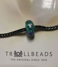 Authentic Trollbeads Teal Blooming Flower  unique OOAK bead HTF  Brand NEW!