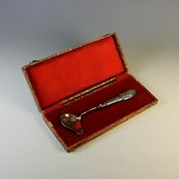 19 thC French Serving Gravy Sauce Ladle w/Sterling Silver Handle Box