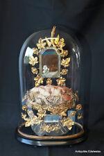Globe de marié (pendule) Bouquet au feuille de laiton, oiseau et miroirs H44,5