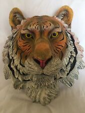 Wall Mount Resin Tiger Head Plaque Decor Hand Painted