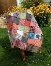 PriMiTive Rag Quilt Throw Multi Color Patchwork Stars Queen King Farmhouse Red