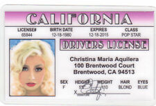 Christina Aquilera Brentwood Ca novelty collectors card Drivers License