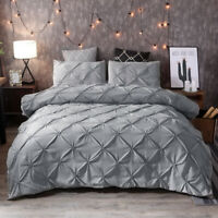 Pinch Pleat Pintuck Gray Duvet Cover for Comforter Bedding Set Twin/Queen/King