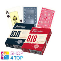 2 FOURNIER 818 POKER PLASTIC COATED PLAYING CARDS DECK RED BLUE JUMBO INDEX NEW