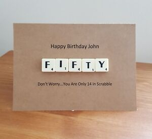 PERSONALISED NAME 50th FIFTY BIRTHDAY CARD SCRABBLE LETTER HUMOUR 70TH 80TH 90TH