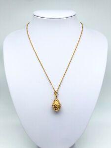 Gold Easter Egg Necklace & crystals by Keren Kopal gold plated pendant