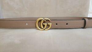 Gucci  beige skinny belt, golden tone buckle