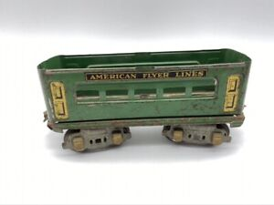 Vintage American Flyer Lines Green Passenger Car 1213 Tin Litho Parts or Repair