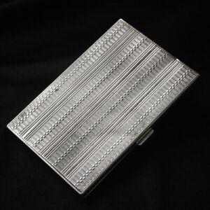 Vintage 800 Silver Engine Turned Cigarette Case Italy