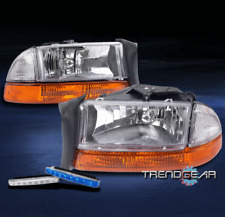 1997-2004 DODGE DAKOTA/1998-2003 DURANGO HEAD LIGHTS+AMBER BUMPER W/BLUE DRL LED