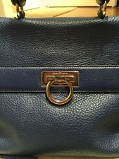 SALVATORE FERRAGAMO SOFIA Medium Dark Blue Handbag W/Strap Kelly-Style $2250+tax