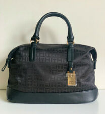NEW! TOMMY HILFIGER BLACK BOWLER SATCHEL TOTE BAG HANDBAG PURSE $85 SALE
