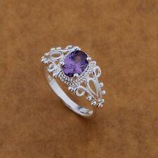 Design Ring 925 Silber Damen Wunderschöner Ring Lila Stein Gr.17 Neu