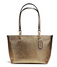 COACH Leather Sophia Tote Handbag Shoulder Bag Purse Gold Metallic 37117  NWT