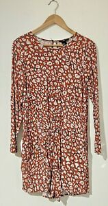 H&M US Size 8 AU 10 12 Romper Burnt Orange Print Long Sleeve Pockets Playsuit