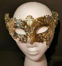 Mardi-Gras Gold White Metal Die-Cut Lace Half Mask Venetian Masquerade Women Seq