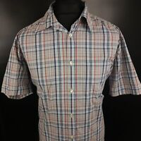 HUGO BOSS Mens Shirt LARGE Short Sleeve Multicoloured Regular Fit Check Cotton