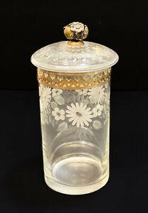 Tall Vitali Bruno Italian 800 Silver Mounted Cut Glass Etched Round Lidded Jar