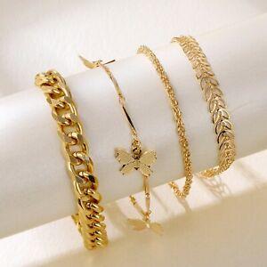 4Pcs Butterfly Bracelet Set Statement Punk Female Geometric Chain Charm Bangles