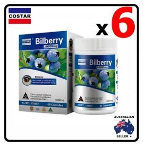 6 x Costar Bilberry High Strength10,000 mg 60s