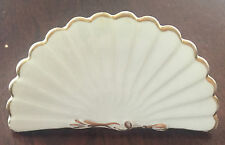 Vintage! ANTIQUE HAND FAN Place Card Holder BISTO China WHITE & GOLD
