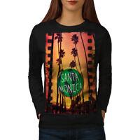Wellcoda Santa Monica City Holiday Womens Long Sleeve T-shirt, Los Casual Design