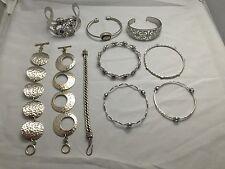 Wholesale Lot of (10) .925 Sterling Silver Italian Design Link / Cuff Bracelets