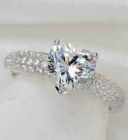 New Genuine 925 Silver Ladies Heart Cut Wedding Engagement Bridal Ring
