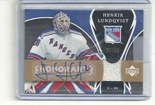 NYR HENRIK LUNDQVIST HONORARY SCRIPTED SWATCHES 07/08 UPPER DECK # 33 OF 50