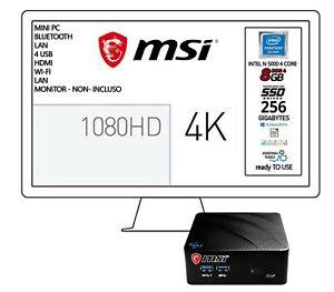 Msi mini pc Cpu DC INTEL N5000, Ram 8Gb,SSD m.2 256Gb, Win10 Pro Pronto all'uso