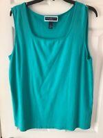 KAREN SCOTT WOMAN Blouse size 3XL 100%Cotton Size 3 XL Tank Top Teal