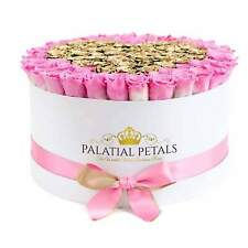Pink & 24K Gold Roses That Last A Year - Deluxe Rose Box