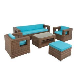 Polyrattan Sitzgruppe Gartenlounge Rattan Lounge Gartenmöbel Set Outdoor Braun
