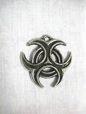NEW  BIOHAZARD 2 SIDED CAST PEWTER PENDANT ADJ NECKLACE CELTIC SYMBOL