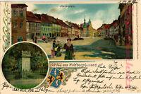 AK Hildburghausen, Litho., Marktplatz, Denkmal Königin Luise, 1900, 15/04