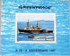 ROMANIA RUMÄNIEN 1997 Block 306 S/S 4145 25th Ann Greenpeace Ship Schiff MNH