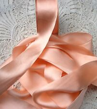 "100% PURE SILK SATIN RIBBON [36MM] 1 1/2"" WIDE  MISTY/PEACH 3YDS"