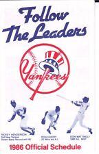 1986 Yankees Schedule Rickey Henderson Mattingly Guidry Yankee Magazine Ad