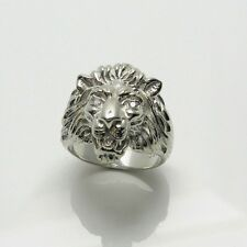 STERLING SILVER LION'S HEAD  RING WITH GEN. DIAMONDS, HANDMADE. RETAIL $749