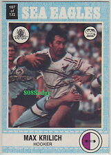 1977 SCANLENS RUGBY LEAGUE TRADING CARD #107: MAX KRILICH - MANLY SEA EAGLES